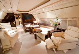 An Airbus corporate jet's interior